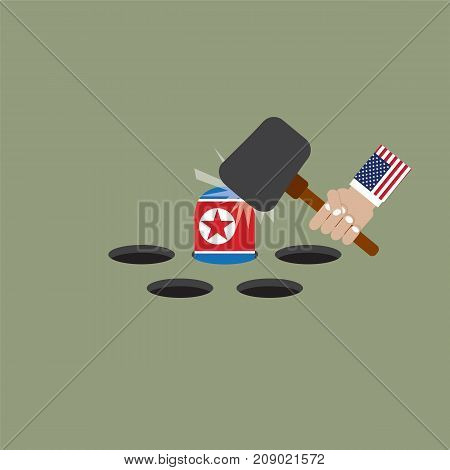 The President Of The United States of America Trying To Hit The North Korean Flag Vector Illustration. EPS 10
