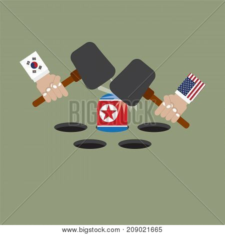 The President Of The United States of America And South Korean Trying To Hit The North Korean Flag Vector Illustration. EPS 10