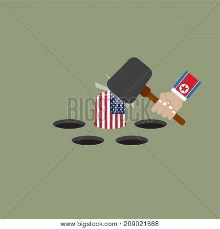 The President Of The North Korean Trying To Hit The United States of America Flag Vector Illustration. EPS 10