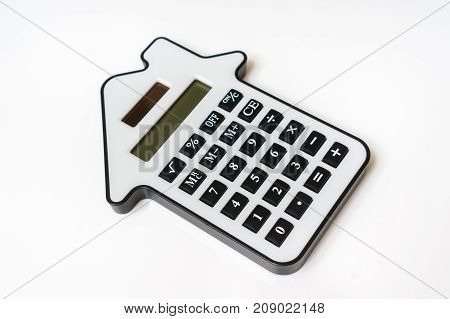 Calculator isolated on white - lease purchase investment mortgage real estate sell and buying concept