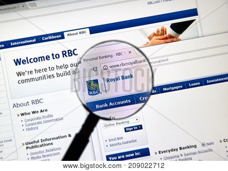 MONTREAL CANADA - OCTOBER 12 2017: Web page of Canadian bank RBC. The Royal Bank of Canada is a Canadian multinational financial services company and the largest bank in Canada.