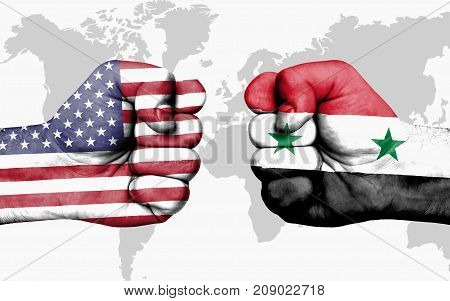 Conflict Between Usa And Syria - Male Fists