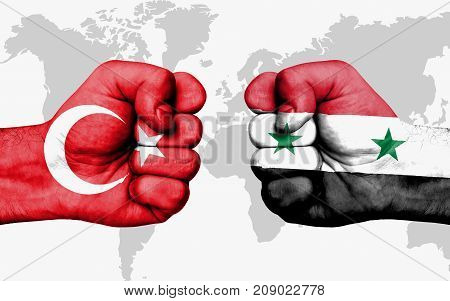 Conflict Between Turkey And Syria - Male Fists