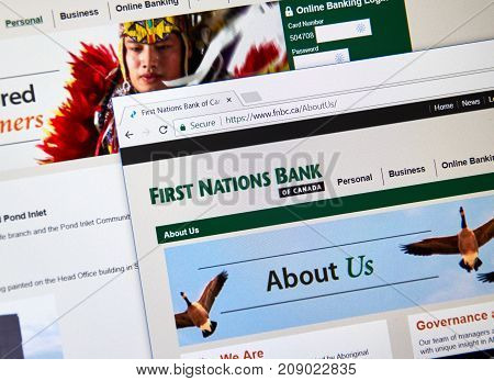 MONTREAL CANADA - OCTOBER 12 2017: Web page of Canadian bank FNBC. First Nations Bank of Canada FNBC is the first Canadian chartered bank to be independently controlled by Aboriginal shareholders