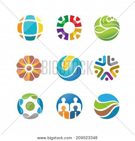 best abstract circle logo set . abstract circle logo design. green logo.social logo icon, abstract tech circle logo