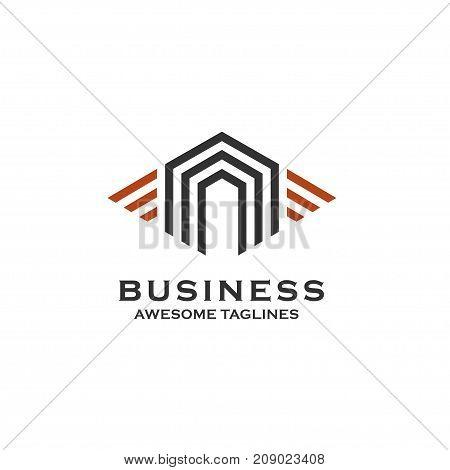 Property and Construction Logo design Vector, real estate and homes logo concept, stripes house logo concept