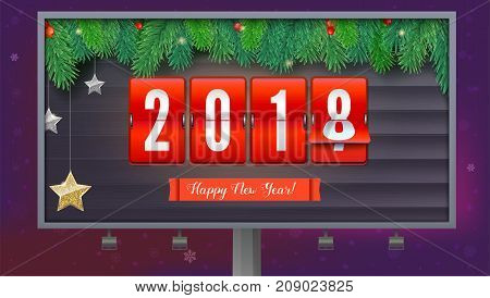 New Year is coming 2018. Background with mechanical clock, gold and silver stars. Happy New Year 3D illustration with scoreboard, template for your greeting cards or print design.