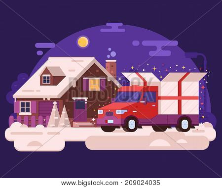 Red delivery van carrying Christmas present to winter house. Cartoon truck car delivering Xmas gift box to rural cottage. Holiday background or banner in flat design. Auto cargo or shipment concept.