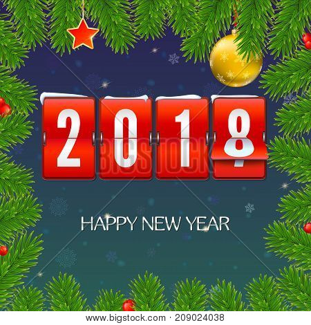 New Year is coming 2018. Frame from fir branches with mechanical clock, serpentine and Christmas ball. Happy New Year 3D illustration with scoreboard, template for your greeting cards or print design.