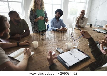 Diverse business people in meeting