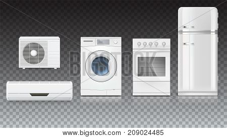 Set icons of household appliances on a transparent background. Air conditioning, washing machine, gas hob and white fridge, isolated 3D illustration with realistic shadows and reflections.