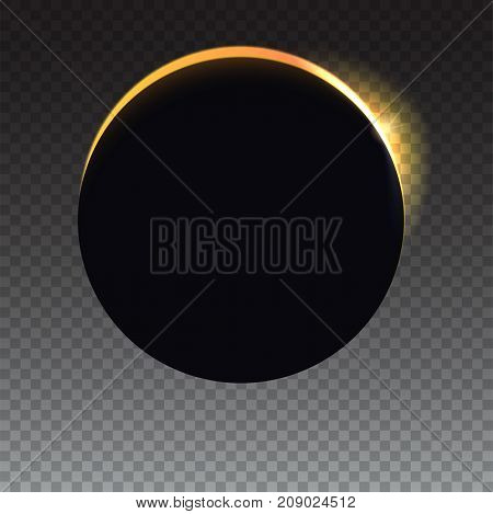 Glow light effect template for your cover, poster and cards. Solar eclipse, astronomical phenomenon. Light rays on transparent backdrop. The planet covering the Sun eclipse.