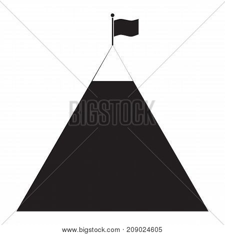 flag on mountain icon on white background. flag on mountain sign. success icon. black mountain with black flag on top. mountain peak with flag icon.