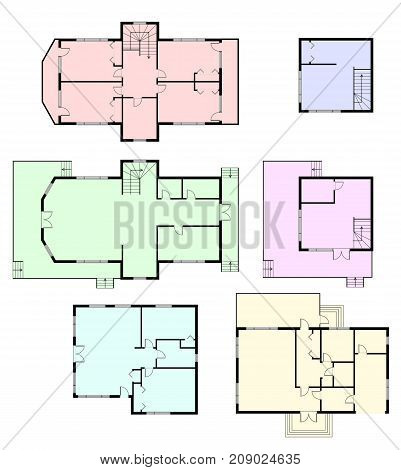 Set of architectural plans of a house with colored floor. Layout of the apartment without furniture in the drawing view. Vector illustration
