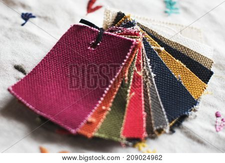 Closeup of colorful fabric samples