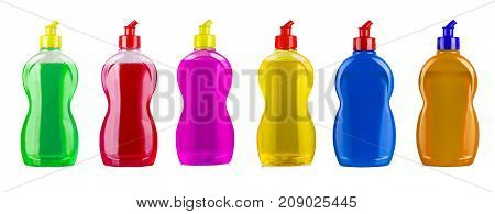 colored cleaning equipmentes isolated on a white background. colored plastic bottles with Detergent isolated on white background .
