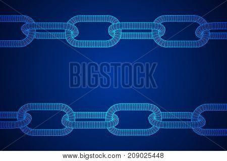Wireframe BlockChain links. Chain 3d Vector illustration