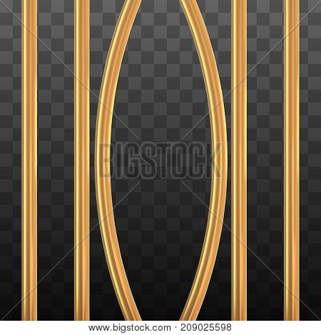 Broken golden prison bars on black transparent. Vector illustration. Way out to freedom from gold cage concept