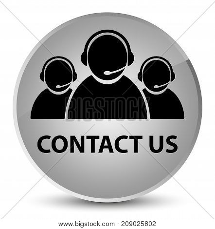 Contact Us (customer Care Team Icon) Elegant White Round Button