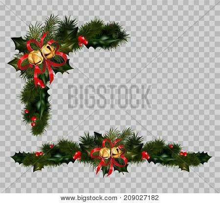 Christmas decoration set of fir and holly wreath, Christmas jingle bells. Vector New Year winter holiday greeting card decoration isolated on transparent background