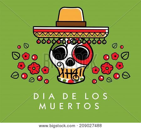 Dia de los muertos. Day of The Dead vector poster with festive skull in sombrero with colorful flowers, isolated on dark background. Vector Illustration.