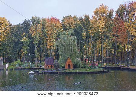 Autumn near lake in Kharkiv Gorky Park