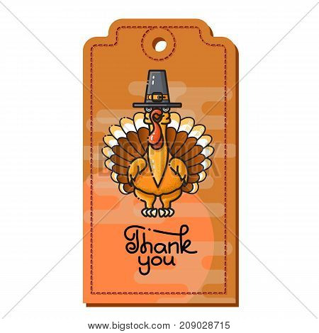 Thank You. Cartoon Turkey in pilgrim hat. Vector Sale Coupon, Voucher, Tag. Can be used as price tags.