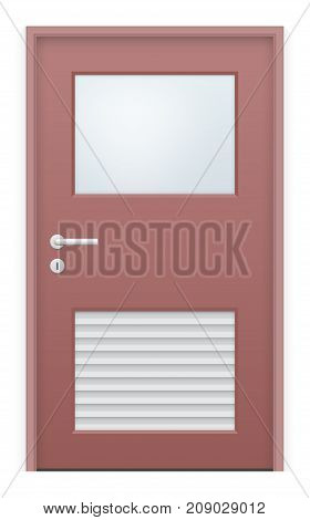 Vector design of door and glass isolated on white background.