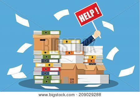 Stressed cartoon businessman in pile of office papers and documents with help sign. Stress at work. Overworked. File folders. Carton boxes. Bureaucracy, paperwork. Vector illustration in flat style