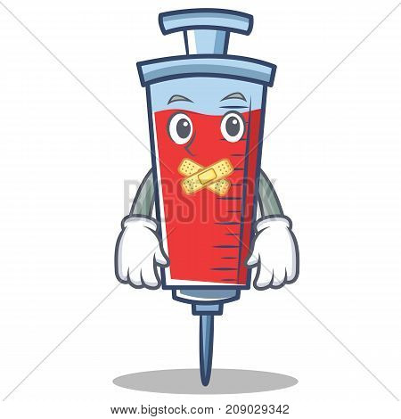 Silent syringe character cartoon style vector illustration