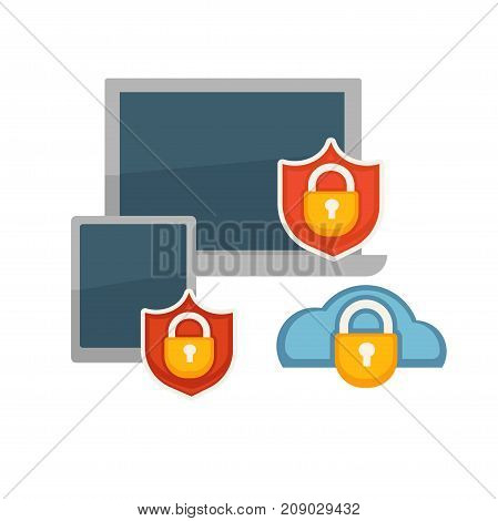 Antivirus program for laptops and tablets with lock and shield signs and function of virtual cloud protection isolated cartoon flat vector illustration on white background. App for devices protection.