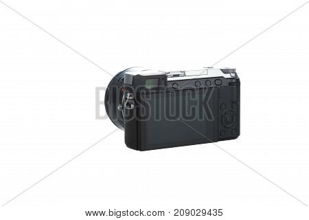 view from back compact camera isolated with white background