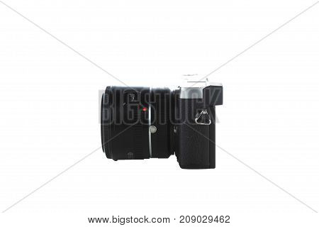 side view of compact camera isolated with white background