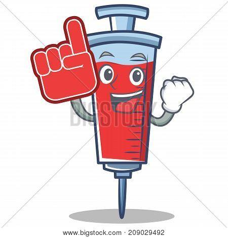 Foam finger syringe character cartoon style vector illustration