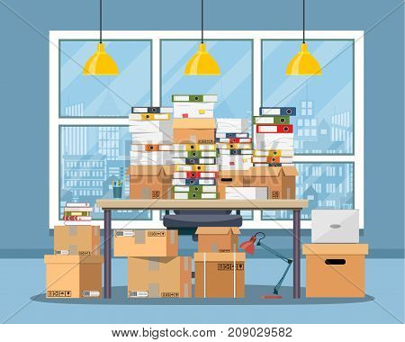 Pile of paper documents and file folders on office table. Carton boxes. Bureaucracy, paperwork, office. Chair, desk, lamp. Cityscape. Vector illustration in flat style
