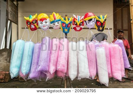 Bali, Indonesia - September 17, 2016: Cotton candy for sale on the street in Bali, Indonesia