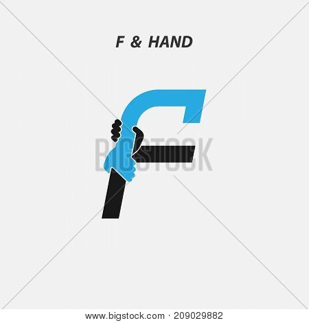 F - Letter abstract icon & hands logo design vector template.Italic style.Business offer or partnership symbol.Hope or help concept. Support and  teamwork sign.Corporate business & education logotype symbol.Vector illustration