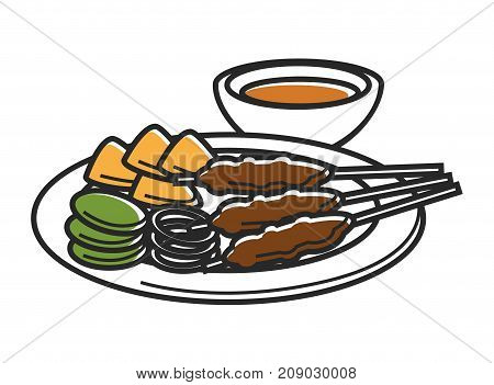 Plate with snack and bowl of sauce isolated cartoon flat vector illustration on white background. Meat on sticks, cheese slices, onion rings and almond nuts served with sweet and sour gravy.