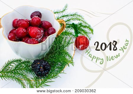 Happy New Year 2018 seasons greeting card for sending wishes in 2018 healthy conceptual background, elegant tea cup filled with seasonal berries, holiday cranberry and bright evergreen in gold vintage cup white background for card or poster or social netw