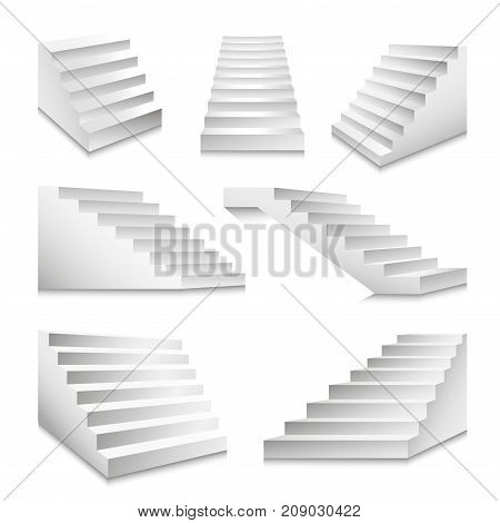 Stairs or staircases and podium ladders. Vector 3D isolated white stairs set isolated in different angles for interior design or building stairway element template icons