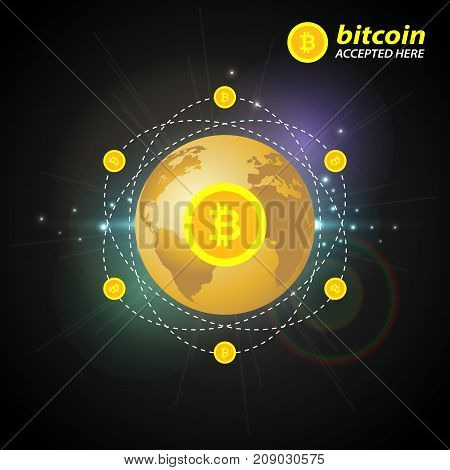 Gold bitcoin on the background of the planet. Design concept digital crypto currency.