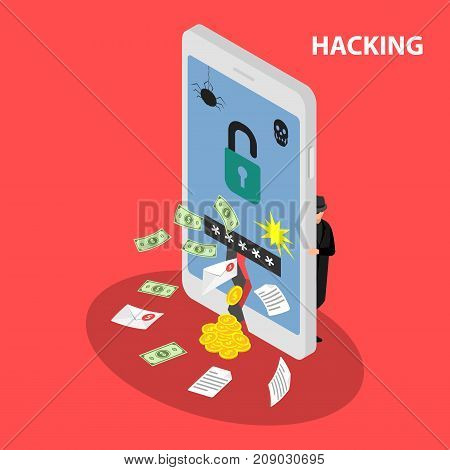 Hacking smartphone database.  Abduction of finance funds. Vector isometric illustration.