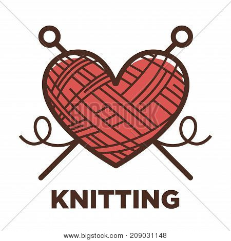 Knitting icon of wool clew in heart shape and knit needles. Vector isolated symbol for wool clothing label or knitting salon sign