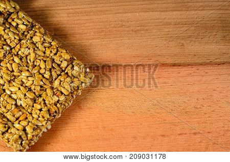 Brittles With Sunflower Seeds On A Wooden Table