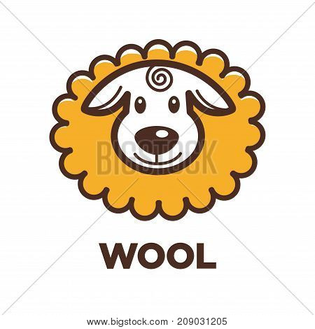 Wool sheep label or logo for yarn knitting handicraft or clothing production tag for pure natural sheep wool textile