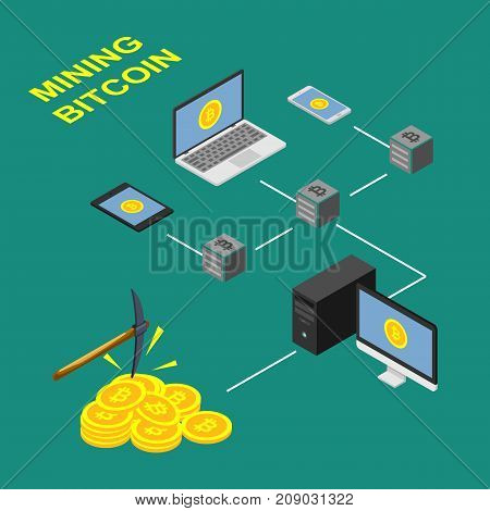 The concept of bitcoin extraction design, scheme blockchain. Isometric vector illustration.