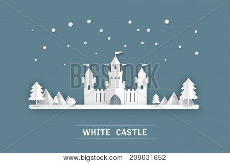 White paper castle Mountain nature winter landscape on pop up paper cut style on blue background Vector illustration