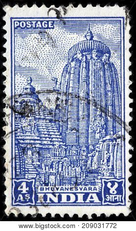 LUGA RUSSIA - AUGUST 20 2017: A stamp printed by INDIA shows view of famous Ananta Vasudeva Temple located in Bhubaneswar the state capital of Odisha India circa 1951