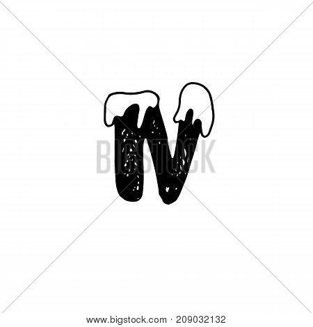 N. Christmas snowy alphabet. Christmas font with snow. Handdrawn lettering. Vector illustration
