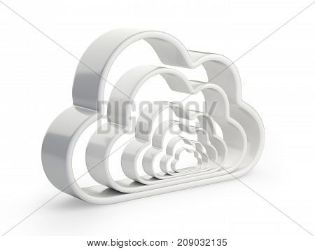 Cloud computing and database - combined symbol. Isolated 3D illustration isolated on w hite background.